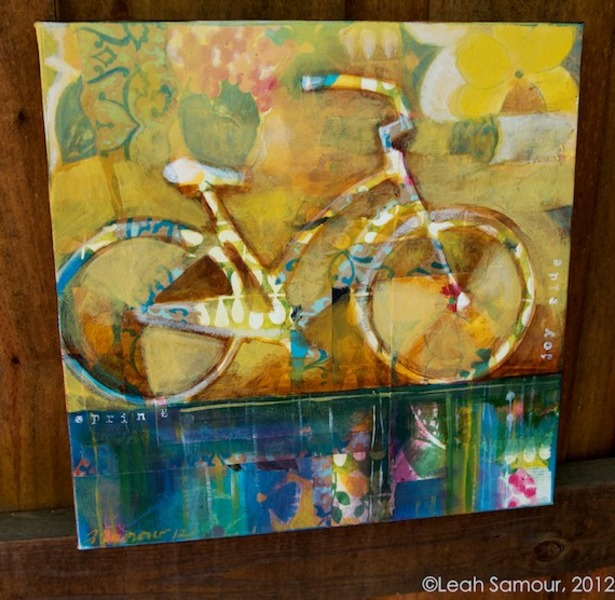 spring ride 2012 acrylic and collage